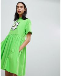 Lazy Oaf - Giant Daisy Smock Dress - Lyst