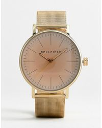 Bellfield - Mesh Strap Watch In Gold With Pink Face - Lyst