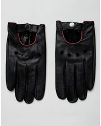 ASOS - Leather Driving Gloves In Black With Red Piping - Lyst