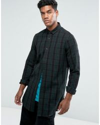 ASOS - Regular Fit Longline Check Shirt With Side Zips In Longline - Lyst