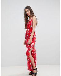 AX Paris - Ditsy Column Dress With Split - Lyst