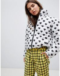 Daisy Street - Padded Jacket With All Over Heart Spot Print - Lyst