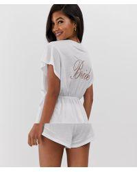 ASOS - Bride Wrap Pyjama Short Set - Lyst