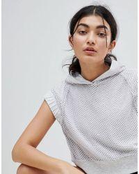 Bershka - Cropped Hooded Sweat In Grey - Lyst