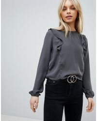 First & I - Ruffle Shoulder Blouse - Lyst