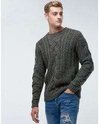 Bellfield - Jumper In Cable Knit In Grey - Lyst