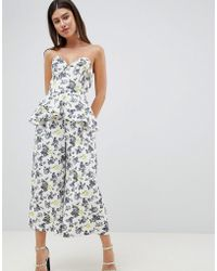 e1bac29f343 ASOS DESIGN - Structured Bandeau Jumpsuit With Frill Overlay In Floral Print  - Lyst