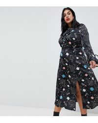 a4837259da57 ASOS - Asos Design Curve Star And Moon Maxi Dress With Fluted Sleeve - Lyst