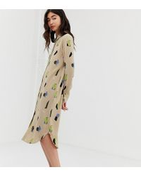 Monki Midi Shirt Dress With Face Print In Beige - Natural
