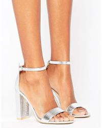 Glamorous - Silver Barely There Block Heeled Sandals - Lyst
