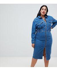 8aa4602c70ee ASOS Cross Back Denim Pinafore Dress in Light Vintage Wash in Blue ...