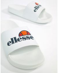 Ellesse - Sliders With Large Logo In White - Lyst