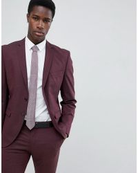 SELECTED - Slim Fit Suit Jacket In Damson - Lyst