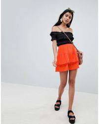 ASOS - Design Lace Insert And Pom Pom Mix Mini Skirt - Lyst