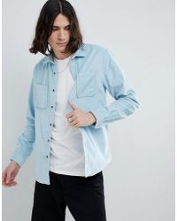 ASOS - Design Overshirt In Cord In Pale Blue - Lyst