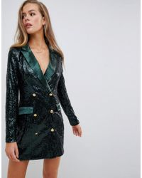 Missguided - Double Breasted Sequin Blazer Mini Dress In Green - Lyst