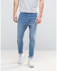 Illusive London - Super Skinny Jeans In Blue With Dropped Crotch - Lyst