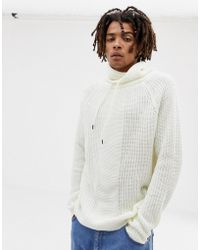 Bershka - Knitted Jumper In White With Roll Neck - Lyst