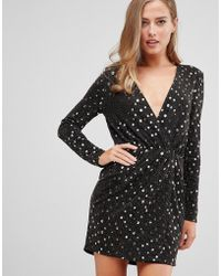 Flounce London - Wrap Front Mini Dress With Statement Shoulder In Black With Gold Sequin In Black/gold - Lyst