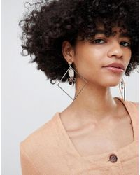 ASOS - Statement Earrings With Resin And Diamond Hoop Design In Gold - Lyst