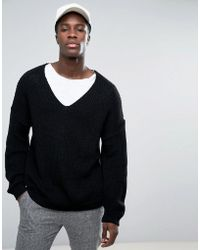 ASOS - Slouchy V-neck Sweater In Black - Lyst