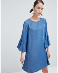 New Look - Shift Dress With Ruffle Sleeve - Lyst