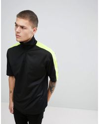 ASOS DESIGN - Asos T-shirt With Zip Neck And Neon Sleeve Panels In Polytricot - Lyst