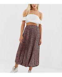 Pull&Bear - Pleated Midi Skirt In Animal Print - Lyst