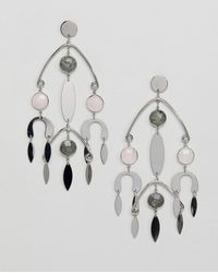ASOS - Earrings With Natural Style Stones In Mobile Design In Silver - Lyst
