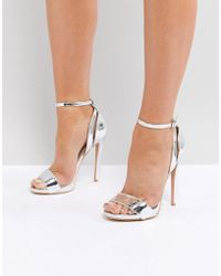 Lost Ink - Metallic Silver High Heeled Sandals - Lyst
