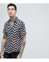 b9194e3508ac3c Reclaimed (vintage) - Inspired Shirt With Short Sleeves In Black With  Floral Zig Zag