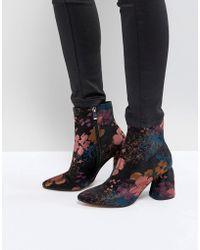 Stradivarius - Jacquard Block Heel Boot - Lyst