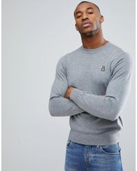 Psycho Bunny - Crew Jumper Cotton Knit In Grey Marl - Lyst