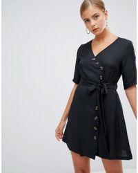 Boohoo - Wrap Button Through Mini Dress In Black - Lyst