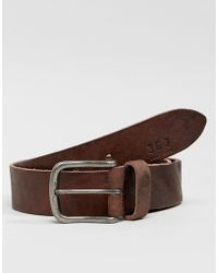 Jack & Jones - Leather Belt With Vintage Buckle - Lyst