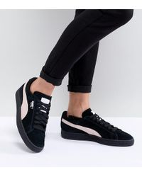 PUMA - Suede Classic Trainers In Black With Pink Branding - Lyst