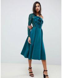 ASOS - Lace Sleeve Origami Midi Prom Dress - Lyst