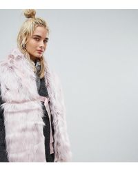 365559d4e Urbancode - Faux Fur Pink Scarf With Ring Fastening - Lyst