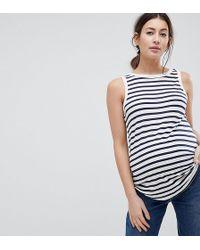 ASOS - Asos Design Maternity Sleeveless Scoop Back Vest In Stripe - Lyst