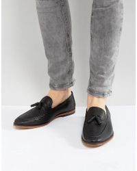 ASOS - Loafers In Black Woven Leather - Lyst