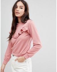 Glamorous - Frill Sweatshirt - Lyst