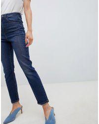 ASOS - Farleigh High Waist Slim Mom Jeans In Dark Wash Textured Stripe - Lyst