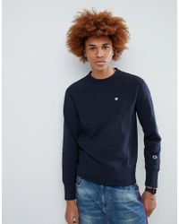 Champion - Sweatshirt With Small Logo In Navy - Lyst