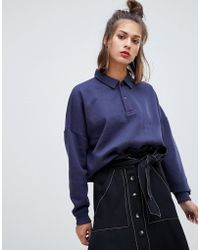 Pull&Bear - Long Sleeved Collar Top - Lyst
