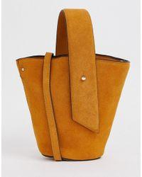 Mango - Suede Bucket Bag In Mustard - Lyst
