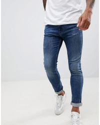 HUGO - 734 Skinny Fit 5 Pocket Jean With Stretch & Abrasions In Mid Wash - Lyst