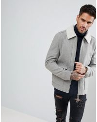 New Look - Wool Aviator Jacket With Borg Collar In Grey - Lyst