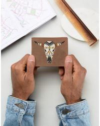ASOS - Leather Wallet With Embroidered Rams Head - Lyst