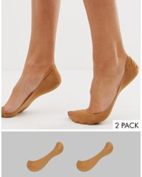 ASOS - 2 Pack Invisible Socks In Golden Bronze - Lyst