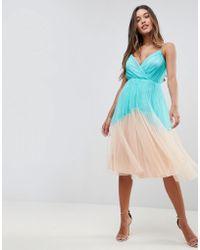 ASOS - Premium Pleated Tulle Colourblock Midi Dress - Lyst